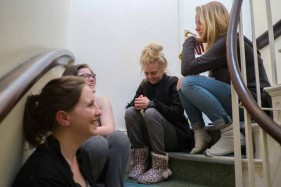 People sitting on a staircase